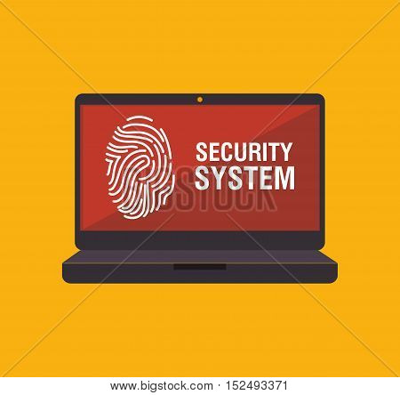 security system fingerpprint laptop vector illustration eps 10