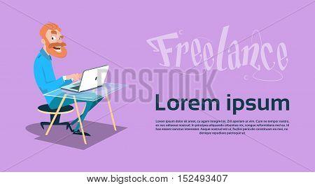 Freelancer Business Man Using Laptop Sitting Working Flat Vector Illustration