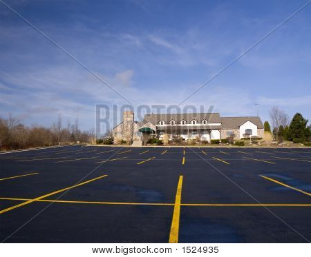 Golf Clubhouse And Parking Lot