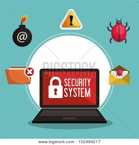 data protection security system network vector illustration