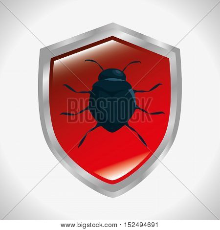 shield protection informatic virus vector illustration eps 10