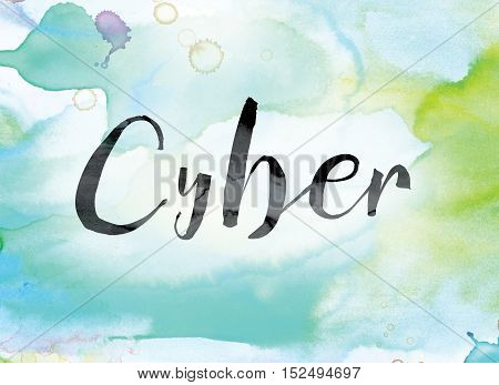 Cyber Colorful Watercolor And Ink Word Art