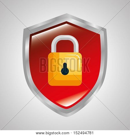 shield protection padlock secure system data vector illustration eps 10