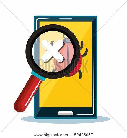 smartphone error system safety icon design vector illustration eps 10