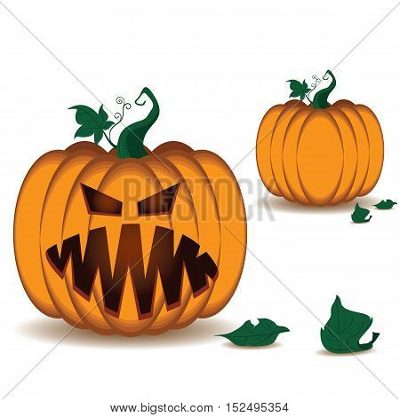 Pumpkin scary face of Happy Halloween isolated on white background.
