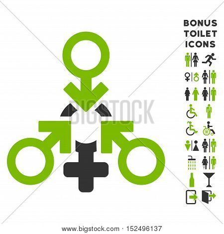 Triple Penetration Sex icon and bonus gentleman and lady WC symbols. Vector illustration style is flat iconic bicolor symbols, eco green and gray colors, white background.