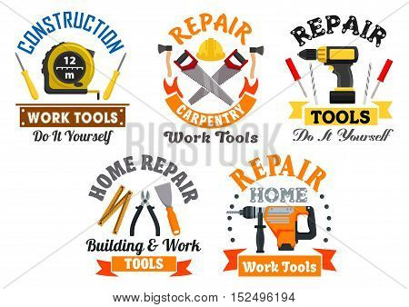 Working tool and equipment isolated symbols with drill, screwdriver, spatula, saw, axe, measuring tape, and pliers supplemented by ribbon banners. Building and repair service design