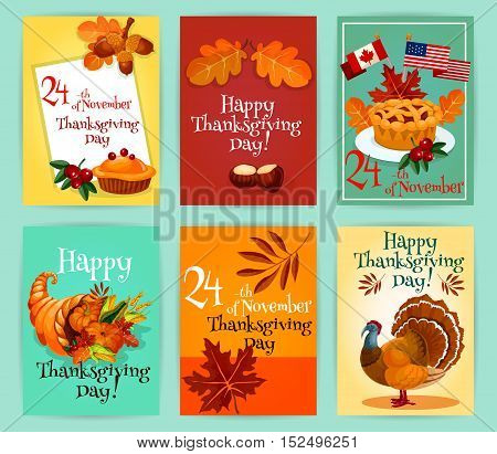 Thanksgiving Day greeting cards set. Design of thanksgiving emblems, flyers, stickers with elements of traditional turkey, pie with canada and america flags, autumn harvest cornucopia plenty horn, autumn maple and oak leaves