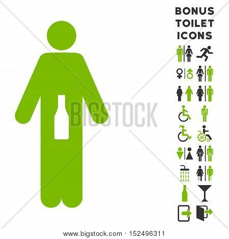 WC Man icon and bonus man and woman WC symbols. Vector illustration style is flat iconic bicolor symbols, eco green and gray colors, white background.