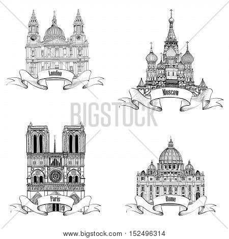 Travel Europe Engraving set. Famous european landmarks collection. City symbols: Paris (Notre Dame Cathedral), London (St Paul Cathedral), Rome (St. Peter Cathedral), Moscow (St. Basil Cathedral)