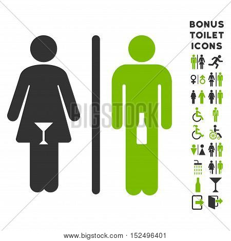 WC Persons icon and bonus male and female restroom symbols. Vector illustration style is flat iconic bicolor symbols, eco green and gray colors, white background.