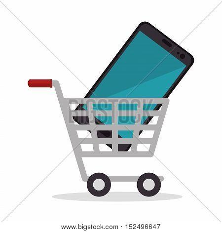 shop cart smartphone design icon vector illustration eps 10