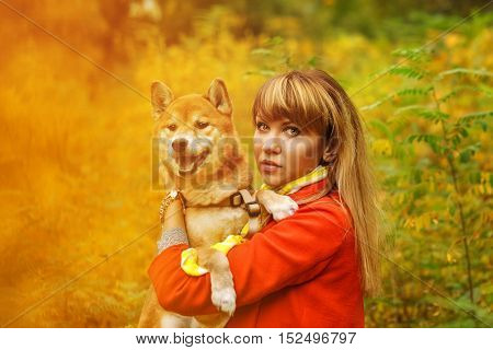Girl hugs a dog Shiba Inu in autumn park. Pedigree dog. Funny animals and their owners. Riot of colors of nature. Outdoor Activities.