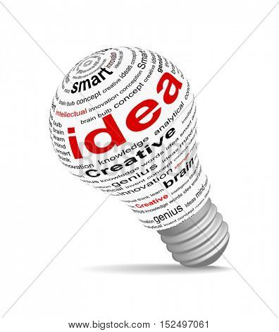 An illustration of idea concept on bulb made with text
