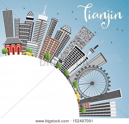 Tianjin Skyline with Gray Buildings, Blue Sky and Copy Space. Business Travel and Tourism Concept with Modern Architecture. Image for Presentation Banner Placard and Web Site.