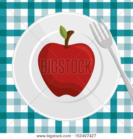 fresh apple over plate and fork with checkered tablecloth vector illustration eps 10