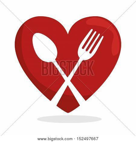 symbol healthy food heart spoon fork vector illustration eps 10
