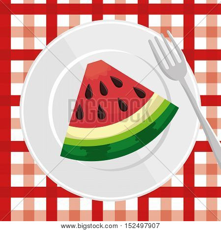 watermelon slice over plate with fork and checkered tablecloth vector illustration eps 10