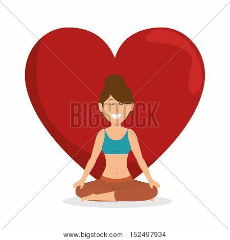 healthy lifestyle woman heart concept icon vector illustration eps 10
