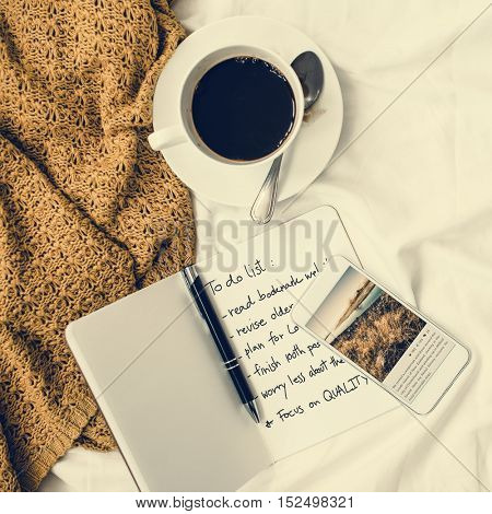 Coffee Americano Espresso Newspaper Bedroom To Do List Concept