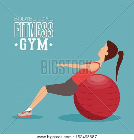 woman training abs with sphere ball fitness gym
