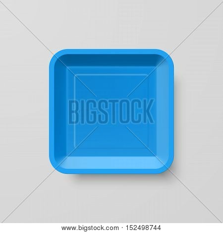 Empty Blue Plastic Food Square Container on Gray Background