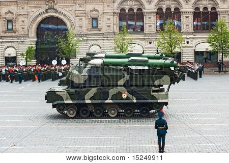 MOSCOW - 6 MAY : Russian BUK-M2 missile system in rehearsal during 65th anniversary of Victory in Great Patriotic War Military Parade at Red Square  on May 6, 2010 in Moscow.