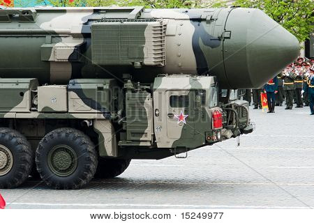 MOSCOW - MAY 6: Russian Topol-M -  intercontinental ballistic missiles in rehearsal during 65th anniversary of Victory in Great Patriotic War Military Parade at Red Square  on May 6, 2010 in Moscow.