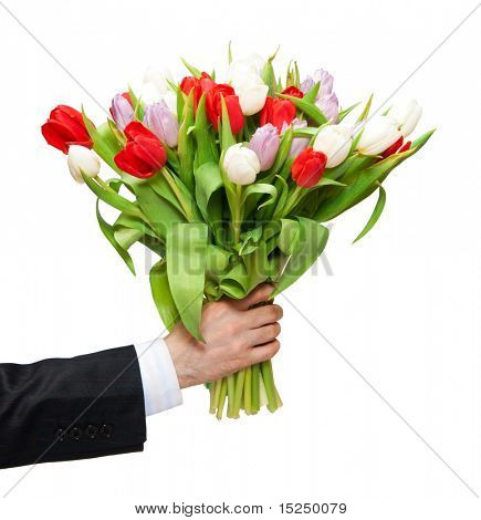 arm of man giving bouquet
