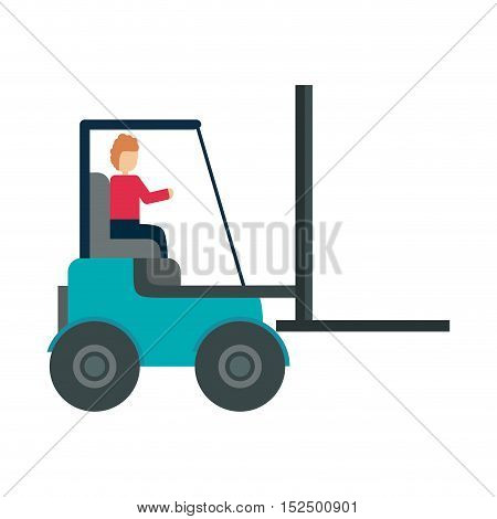 forklift vehicle delivery transport vector illustration design