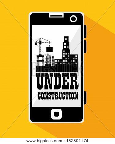 smartphone site under construction vector illustration eps 10