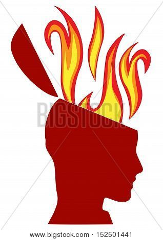 Vector sign head on fire, illustration isolated