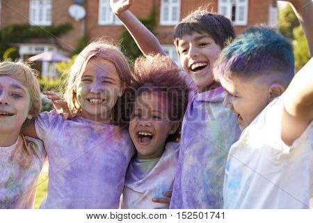 Portrait Of Children Celebrating Holi Festival