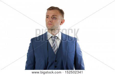 Portrait of an businessman with black eye