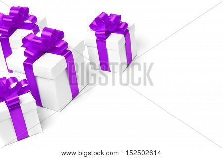 set of gift boxes with a tape. isolated on white background