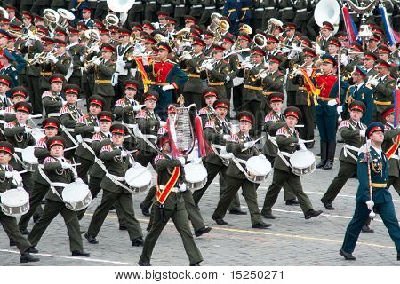 MOSCOW - MAY 6: Dress rehearsal of Military Parade on 65th anniversary of Victory in Great Patriotic War on May 6, 2010 on Red Square in Moscow, Russia