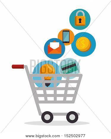 shopping cart online app vector illustration eps 10