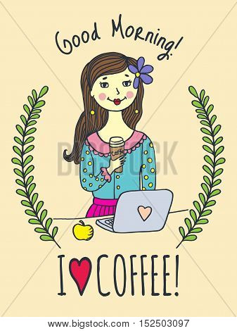 Good Morning card with girl and coffee cup. Vector illustrated card.
