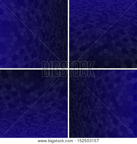 Set Abstract Honeycomb Halftone Effect Vector Background. Perspective Halftone Vector Background. Vector Background with Copy-Space. Blue Perspective Background. Vector illustration for Web Design.