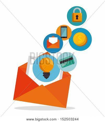 email envelope marketing app icon vector illustration