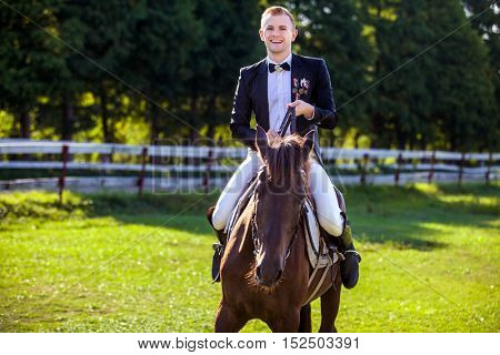 Portrait of happy man riding horse on field