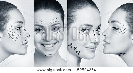 Photos of woman face smiling in plastic collage