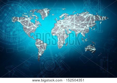 World map with light dots over blue blueprint background. Elements of this image furnished by NASA
