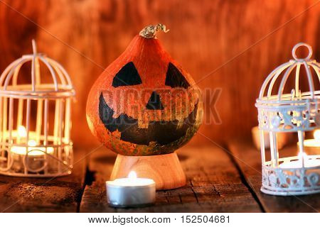 preparation for the celebration of Halloween home decoration pumpkins and toys