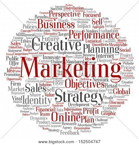 Vector concept or conceptual business marketing circle word cloud isolated on background