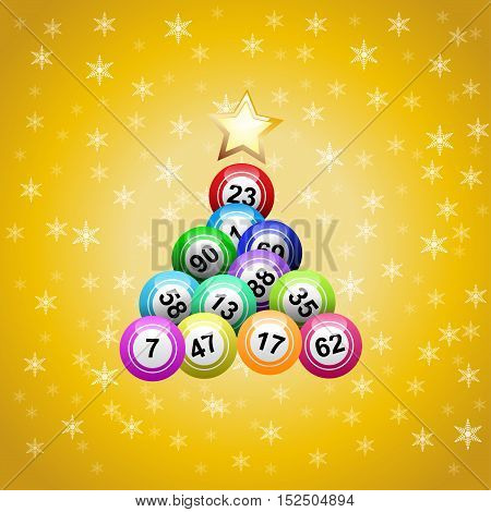 Vector christmas tree with bingo balls on yellow