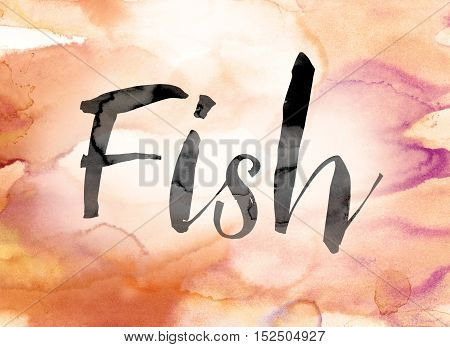 Fish Colorful Watercolor And Ink Word Art
