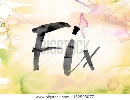 Fix Colorful Watercolor And Ink Word Art