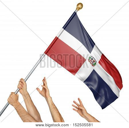 Team of peoples hands raising the Dominican Republic national flag, 3D rendering isolated on white background