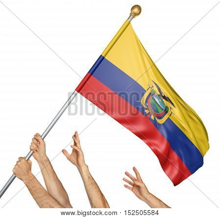 Team of peoples hands raising the Ecuador national flag, 3D rendering isolated on white background